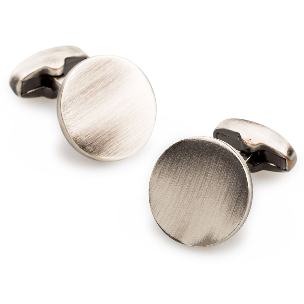 Raging Bull Antique Silver Circle Cufflinks