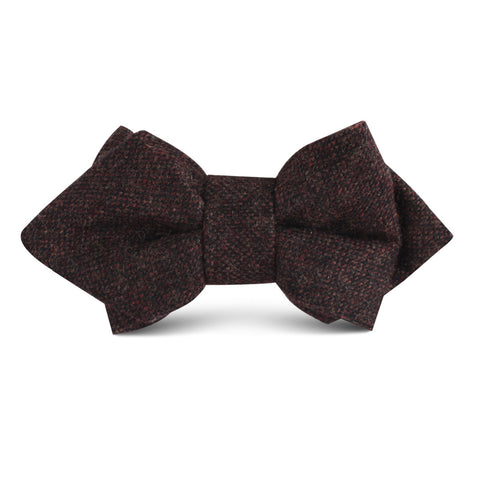 Rambouillet Donegal Brown Wool Kids Diamond Bow Tie