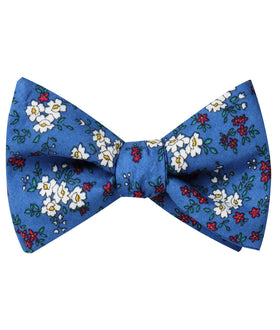 Ravenna Blue Floral Self Bow Tie
