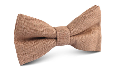 Raw Chocolate Linen Bow Tie