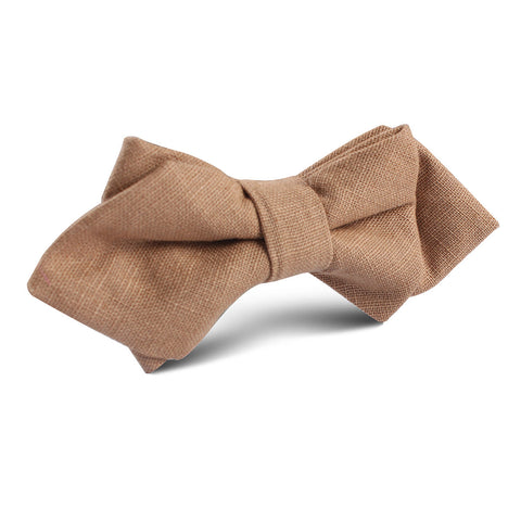 Raw Chocolate Linen Diamond Bow Tie
