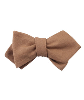 Raw Chocolate Linen Diamond Self Bow Tie