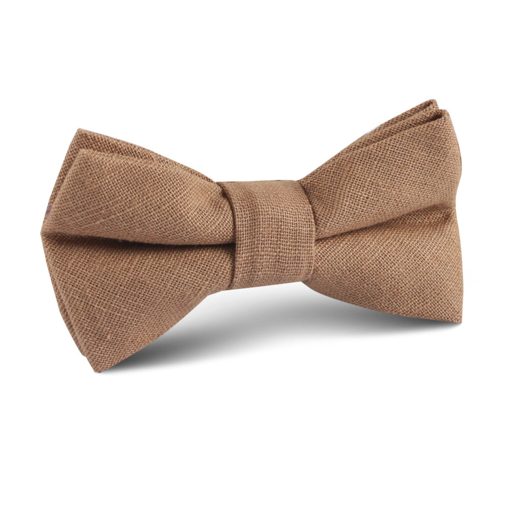 Raw Chocolate Linen Kids Bow Tie