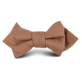 Raw Chocolate Linen Kids Diamond Bow Tie
