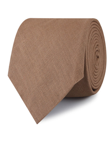 Raw Chocolate Linen Tie