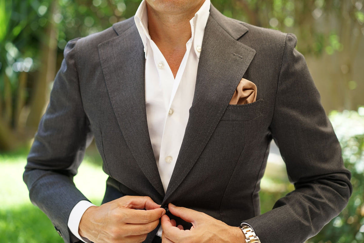 Raw Chocolate Linen Pocket Square