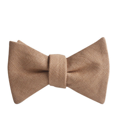 Raw Chocolate Linen Self Bow Tie
