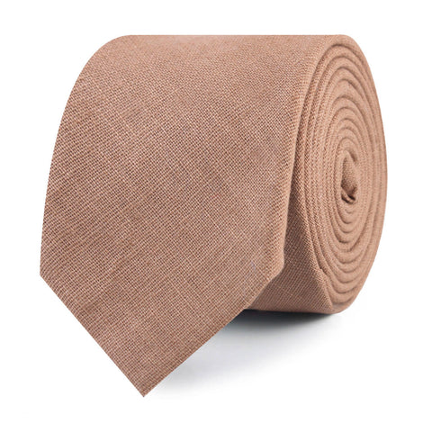 Raw Chocolate Linen Skinny Tie