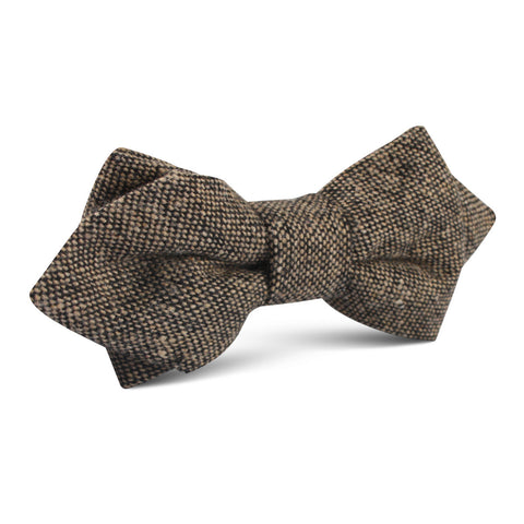 Raw Cocoa Sharkskin Diamond Bow Tie