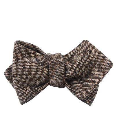 Raw Cocoa Sharkskin Diamond Self Bow Tie