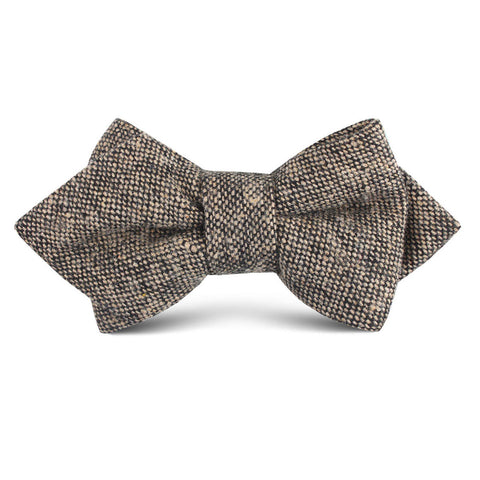 Raw Cocoa Sharkskin Kids Diamond Bow Tie