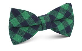 Raw Green Gingham Linen Bow Tie