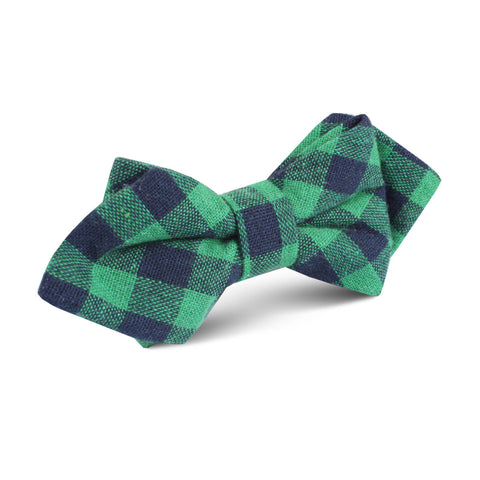 Raw Green Gingham Linen Diamond Bow Tie