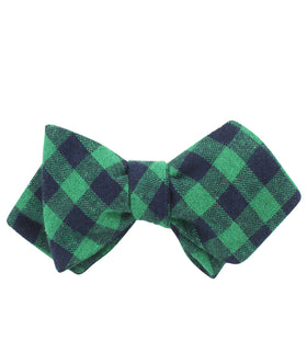 Raw Green Gingham Linen Diamond Self Bow Tie