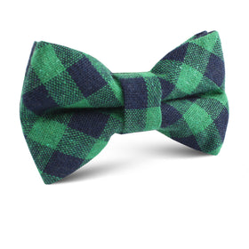 Raw Green Gingham Linen Kids Bow Tie