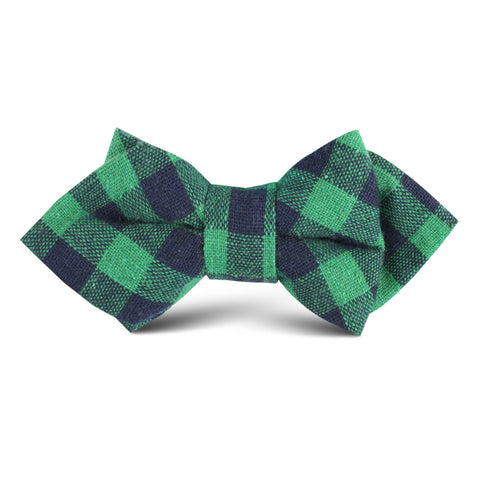 Raw Green Gingham Linen Kids Diamond Bow Tie