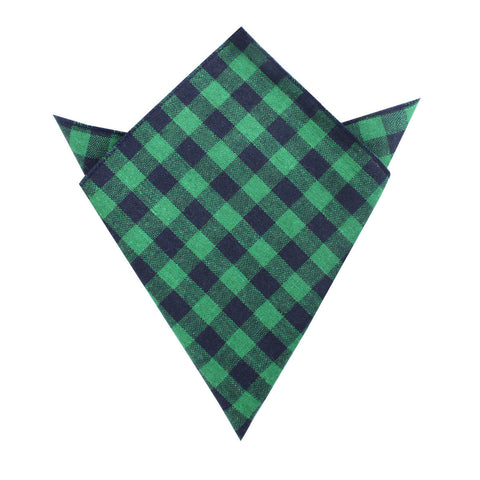 Raw Green Gingham Linen Pocket Square