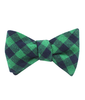 Raw Green Gingham Linen Self Bow Tie