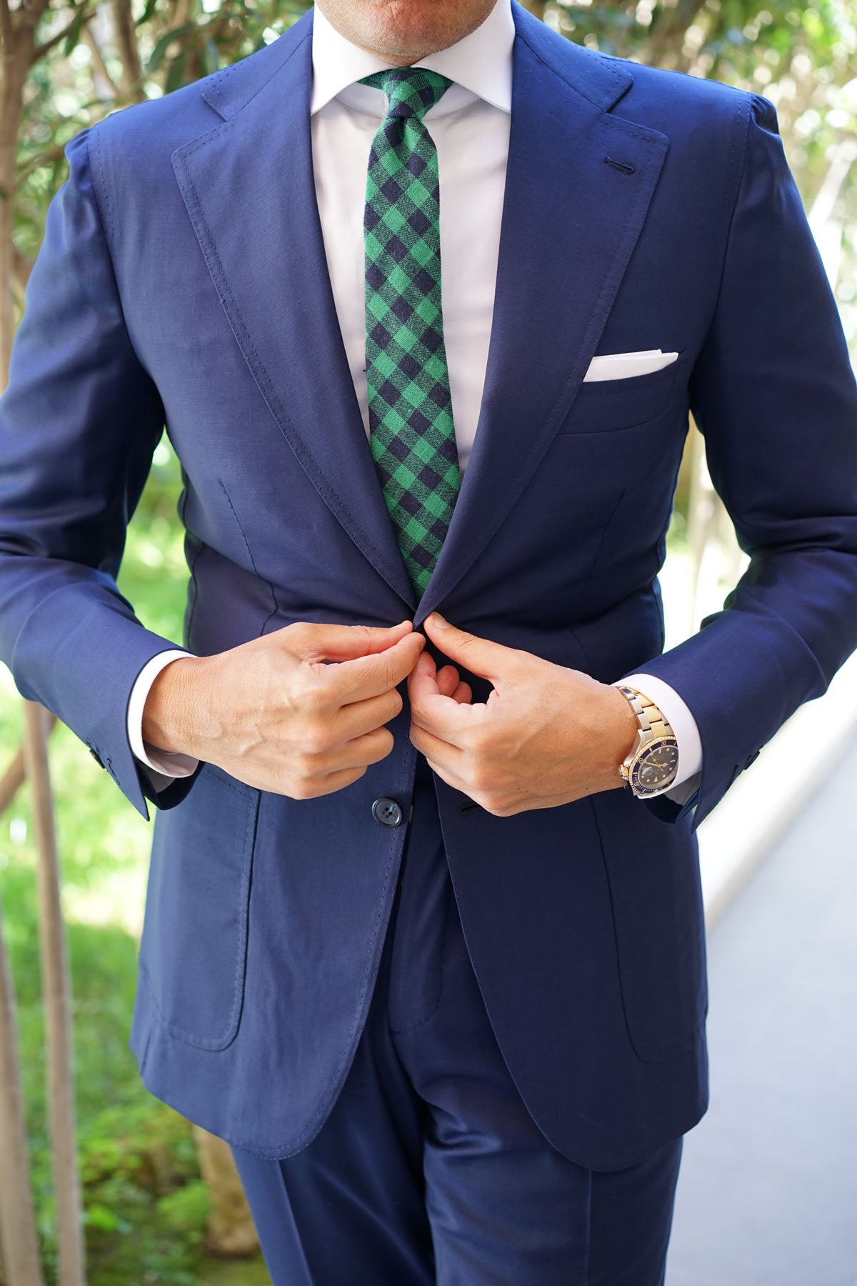 Raw Green Gingham Linen Skinny Tie