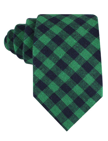Raw Green Gingham Linen Tie