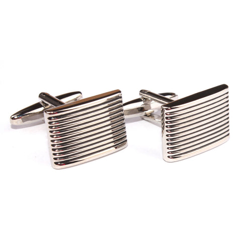 Rectangle Stripe Groove Cufflinks