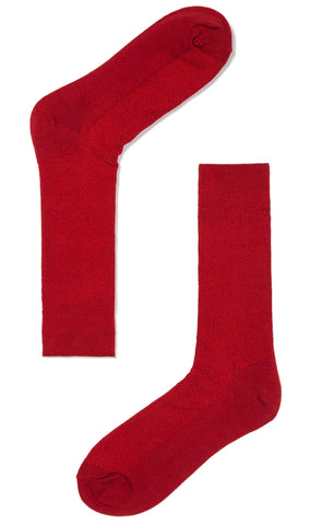 Red Textured Cotton-Blend Socks