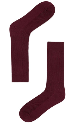 Red Wine Cotton-Blend Socks