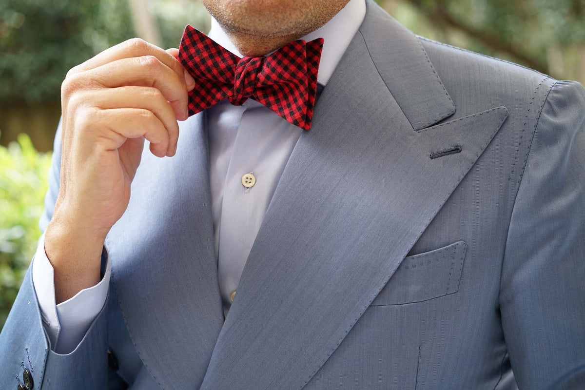 Red Belfast Gingham Self Bow Tie