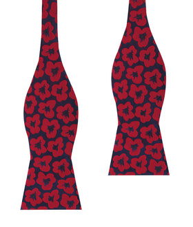 Red Poppy Floral Self Bow Tie