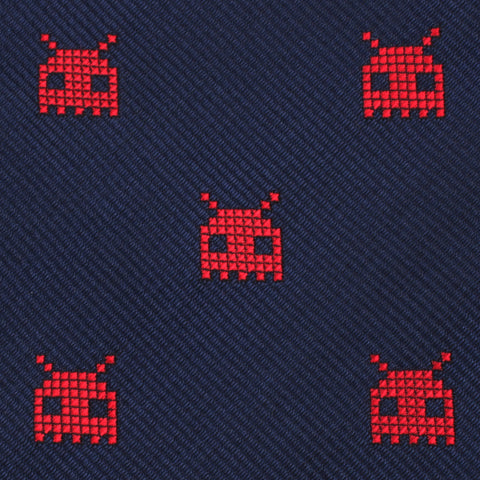 Red Alien Pixel Invader Bow Tie