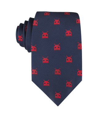 Red Alien Pixel Invader Necktie