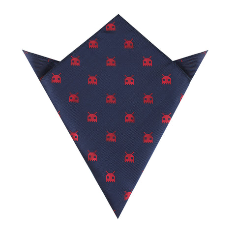 Red Alien Pixel Invader Pocket Square