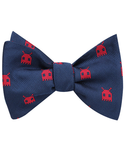 Red Alien Pixel Invader Self Bow Tie