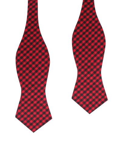 Red Belfast Gingham Diamond Self Bow Tie