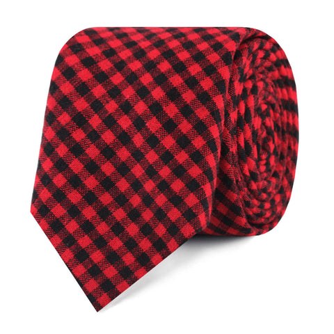 Red Belfast Gingham Skinny Tie