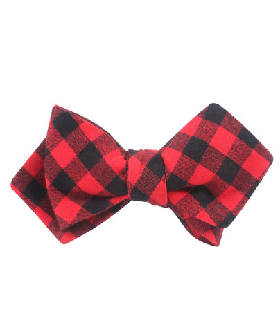Red & Black Gingham Diamond Self Bow Tie