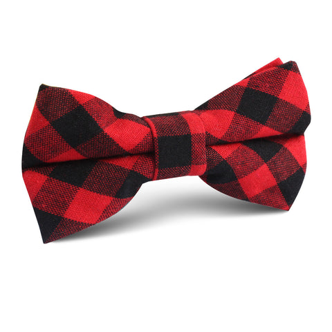 Red & Black Gingham Kids Bow Tie