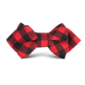 Red & Black Gingham Kids Diamond Bow Tie