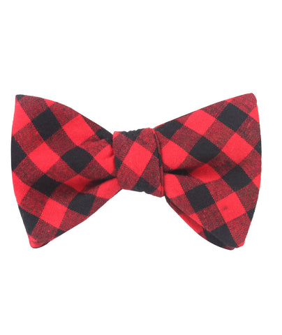 Red & Black Gingham Self Bow Tie