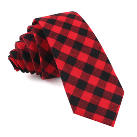 Red & Black Gingham Skinny Tie