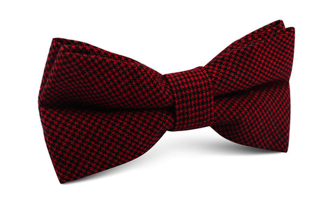 Red & Black Houndstooth Cotton Bow Tie