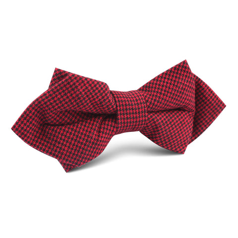 Red & Black Houndstooth Cotton Diamond Bow Tie