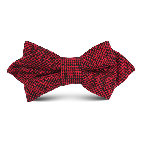 Red & Black Houndstooth Cotton Kids Diamond Bow Tie