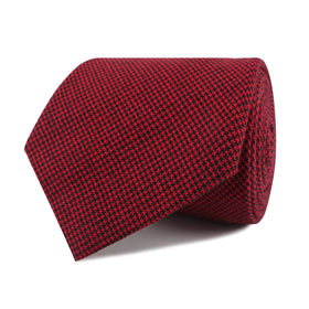 Red & Black Houndstooth Cotton Necktie