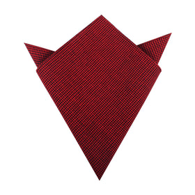 Red & Black Houndstooth Cotton Pocket Square