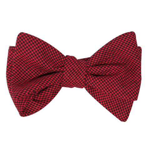 Red & Black Houndstooth Cotton Self Tie Bow Tie
