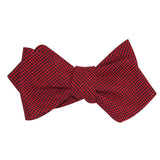 Red & Black Houndstooth Cotton Self Tie Diamond Tip Bow Tie 1