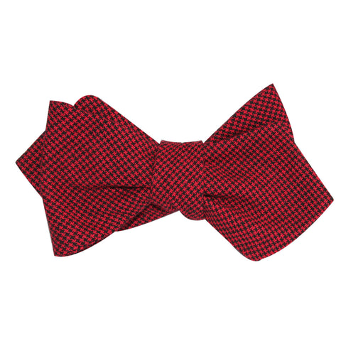 Red & Black Houndstooth Cotton Self Tie Diamond Tip Bow Tie