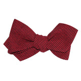 Red & Black Houndstooth Cotton Self Tie Diamond Tip Bow Tie 3