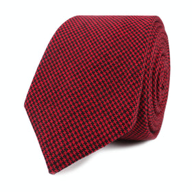 Red & Black Houndstooth Cotton Skinny Tie
